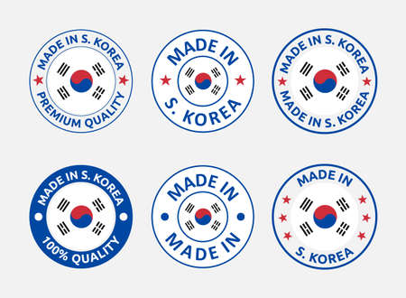 made in South Korea labels set, Republic of Korea product emblem Vectores