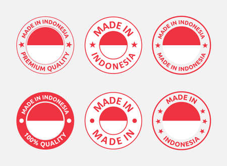 made in Indonesia labels set, Republic of Indonesia product emblem Vectores