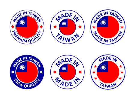 made in Taiwan labels set, Republic of China product emblem Vectores