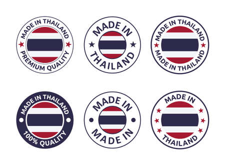 made in Thailand labels set, Kingdom of Thailand product emblem