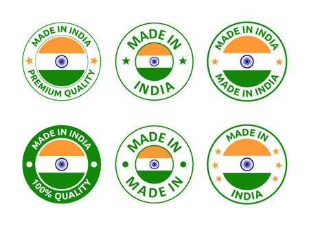 made in India labels set, Republic of India product emblem
