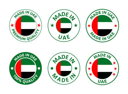 made in UAE labels set, made in United Arab Emirates product emblem