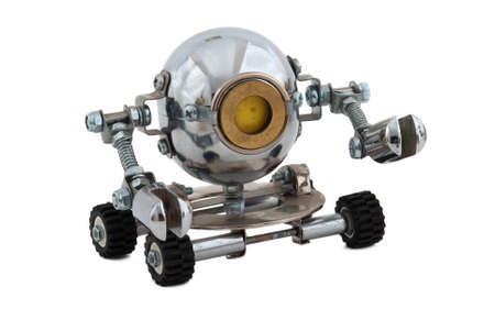 Robot isolated on white. Cyberpunk style. Bronze and steel parts. Retro.