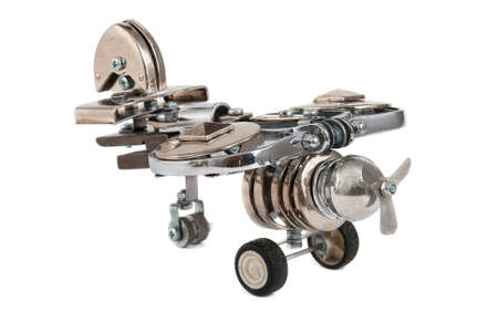 cyberpunk: Steampunk plane. Cyberpunk style. Bronze and steel parts. Retro.