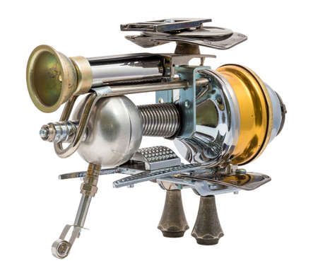 Steampunk toy. Cyberpunk retro style. Steel and bronze parts. Isolated on white.