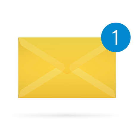 image size: Vector illustration of closed yellow envelope with new mail tag. Great for print, web, banners, design, card, poster, for any size with good quality of image.