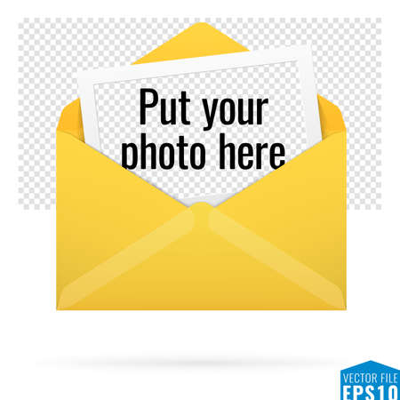 image size: Vector illustration of open yellow envelope with template of picture frame on transparent background. Great for print, web, banners, design, card, poster, for any size with good quality of image