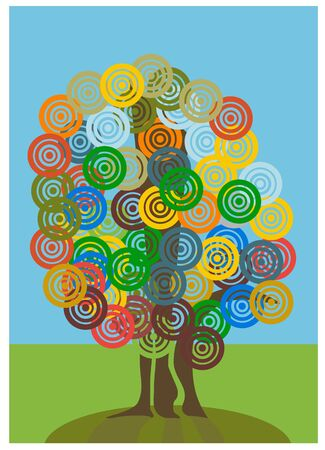 Tree with circle, tree of life, dream world
