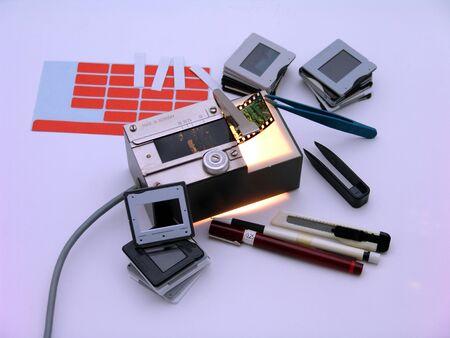 Diaschneider and utensils for labeling Stock Photo