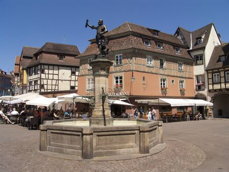 Colmar in France, Fountain with statue of Lazare Schwendi
