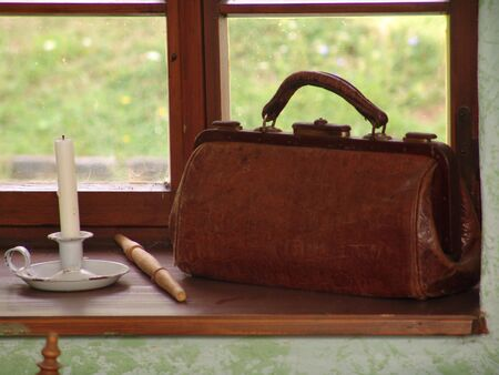 medicated: medic suitcases around the turn of century Stock Photo