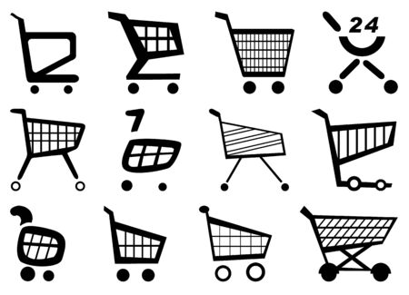 caddy: shopping via the Internet, shopping on the Internet Illustration