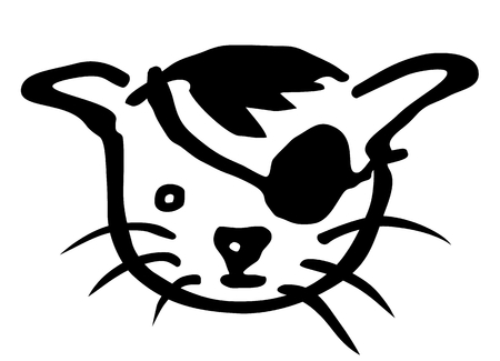 shadowgraph: cat dressed as a pirate