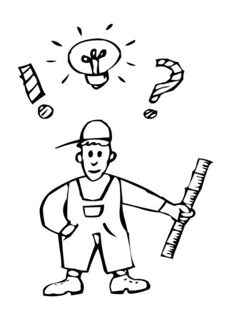 craftsmen with many ideas Stock Illustratie