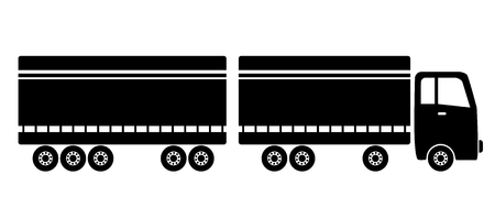 shadowgraph: Long wheeled truck on the road Illustration