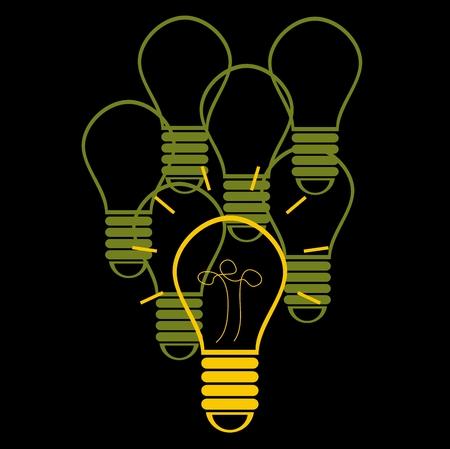 shadowgraph: Saving energy with efficient light bulb Illustration
