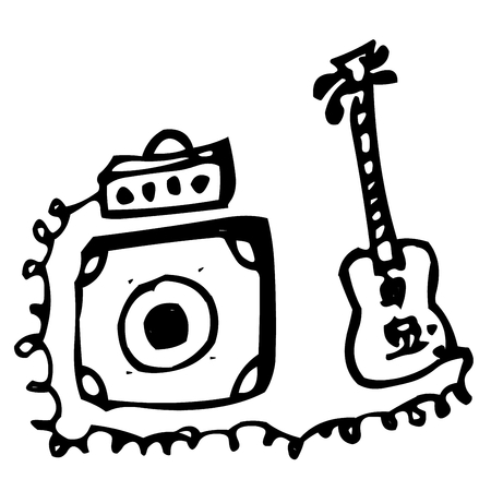 shadowgraph: bass guitar with amplifier