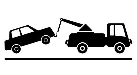 towed: car being towed away