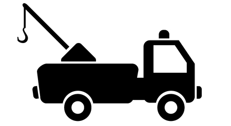 ocher: tow truck on a road sign