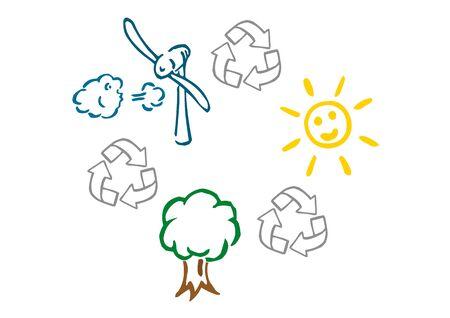 전기, 태양열, 풍력 및 목재 에너지 일러스트