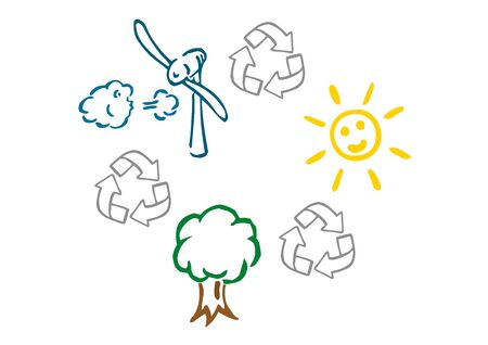 Solar, wind and wood energy for electricity 版權商用圖片 - 46576972