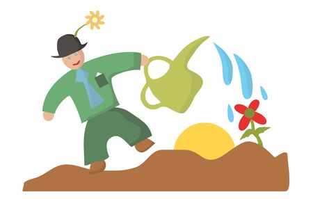 buzzer: green gardener with watering can pours flower