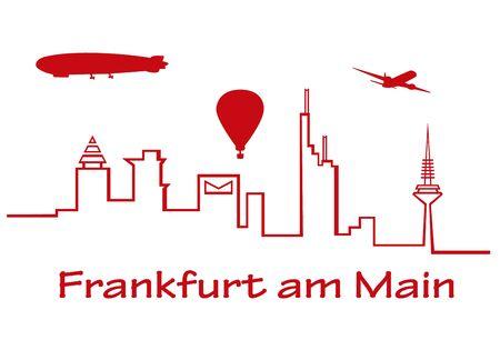 over the skyline of Frankfurt 版權商用圖片 - 47904020