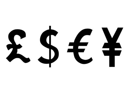 Currency symbol of England, Germany, Japan, USA 向量圖像