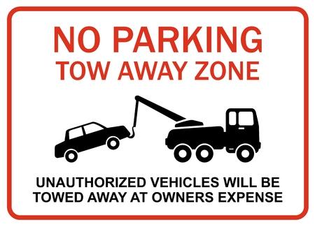 Er is geen parkeergelegenheid tow weg zone Stock Illustratie