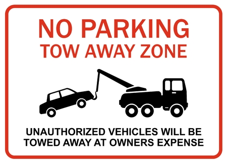 No parking tow away zone Ilustrace