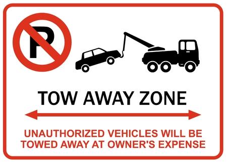 Ongeautoriseerde voertuigen zullen worden weggesleept Stock Illustratie