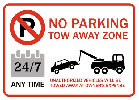 interdict: Tow away zone, no parking, any time