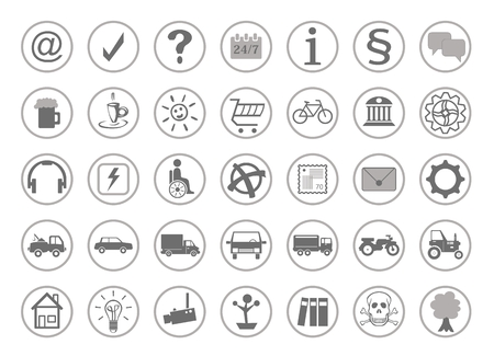 Website pictograms for the homepage