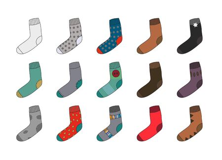 Many colorful socks as clipart