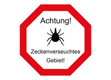 Attention, ticks contaminated area and forest, please do not enter! Illustration