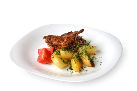 conejo: conejo guisado con verduras Foto de archivo