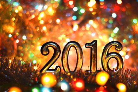 frohes neues jahr: 2016 Zahlen Neujahr, Weihnachten in hellen Lichter Lizenzfreie Bilder