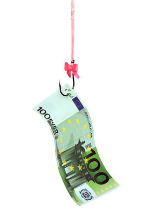 Banknote of Euro on a fishing hook with a beautiful bow