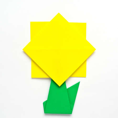 Origami Sunflower On White Background Stock Photo Picture And