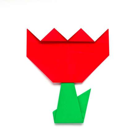 origami tulip on white background photo