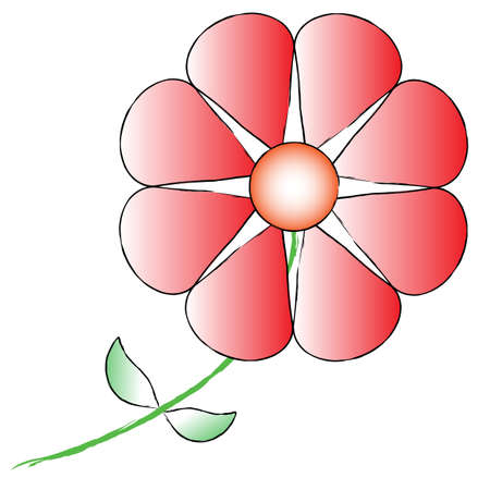 Single red flower on white background Stock Vector - 15364956