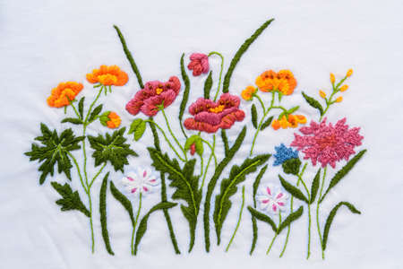 Thai handmade flower embroidery texture Stock Photo - 17677949