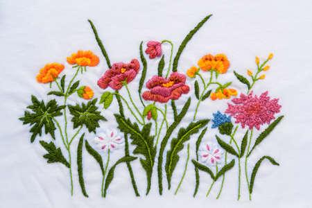 Thai handmade flower embroidery texture Stock Photo - 17677949