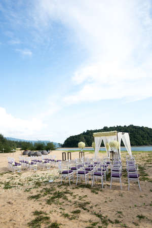 wedding set up on the beach 版權商用圖片