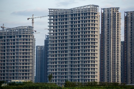 splutter: New Building Under Construction in Yiwu, Hong Kong China. Stock Photo