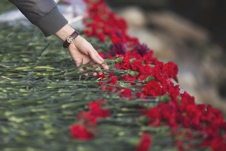 luto: flores de clavel símbolo de luto.