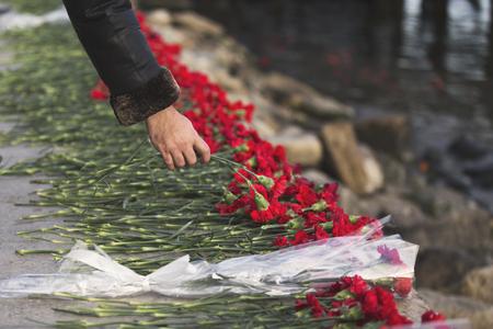 Carnation flowers symbol of mourning.