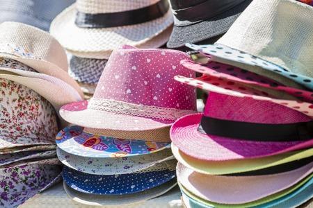 Open market stall with summer straw hats in Kiev,Ukraine