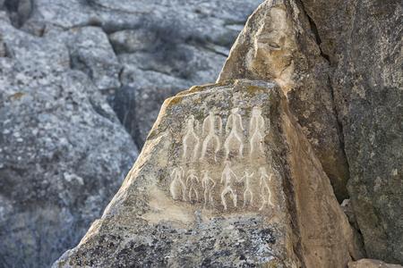 Historical petrographs. Carvings dating back 10 000 BC in Gobustan,Azerbaijan. Archivio Fotografico