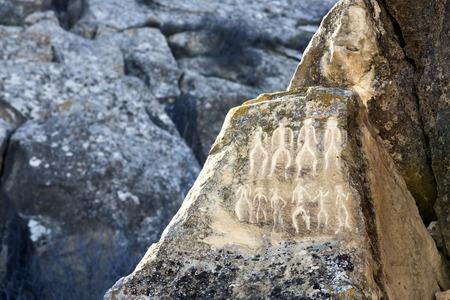 Historical petrographs. Carvings dating back 10 000 BC in Gobustan,Azerbaijan. 写真素材